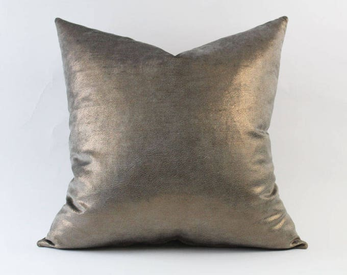 iridescent gray and copper velvet metallic pillow cover - COVER ONLY