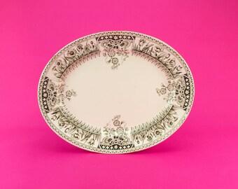Aesthetic Movement Large Serving Platter Floral Kent S Fielding Antique English Victorian 1880s