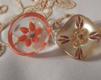 Floral Lucite Buttons - Round and Square with Pearlized Back