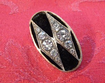 Oval Silvered Brass Antique Button with Black Velvet Fabric and Shiny Rhinestones
