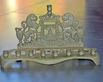 Judaica Candle Menorah Hanukkiah Vintage Israel Lions Crown Symbols 1960's
