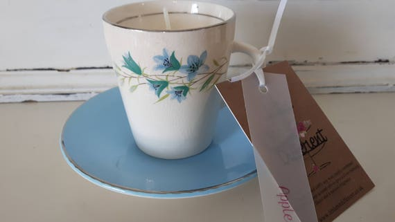 Tea cup candle. Scented soy wax vegan vintage tea cup candle, with apple scent. Vegan candles. Organic soy. Made in Wales