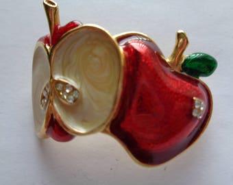 Vintage Unsigned Goldtone/Red Enamel Sliced Apple Brooch/Pin