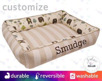 Cute Cat Bed with Embroidery | High Bolsters on all 4 sides  | Reversible Bed - 2 Looks in 1 | Washable & High Quality!