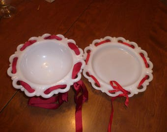 Milk glass Plate and Bowl