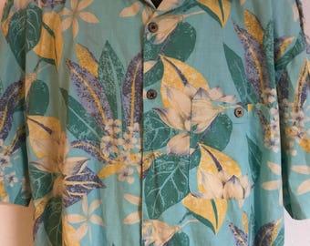 90's Vintage JOE MARLIN Men's Short-Sleeve Hawaiian Shirt - Luau Men's Shirt - Tropical Men's Shirt Sz Xl