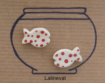 Earrings mini ceramic fish with red polka dots