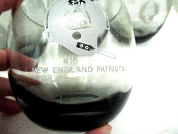 Set of 6 New England Patriots Lowballs, Smoked NFL Barware, New England Patriots Barware, 1970s