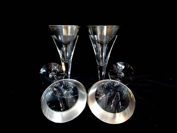Authentic Dorothy Thorpe Small Wine, Set of 4, Allegro Pattern, Silver Barware, Mid Century Barware