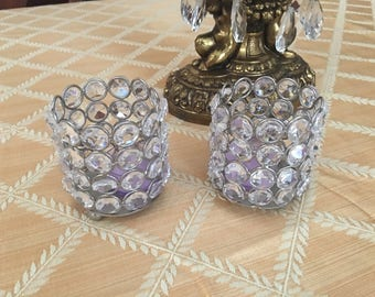 Lot of two small candle votive holders