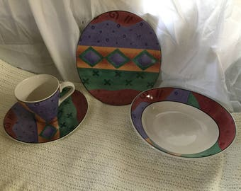 Lot of sango dishes jewel tones