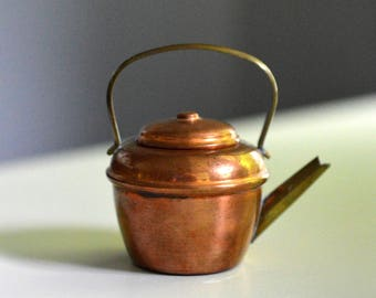 Miniature Salesman Sample Copper Tea Kettle Teapot 2.5""