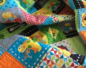 Handmade baby quilt, child quilt, dinosaur quilt