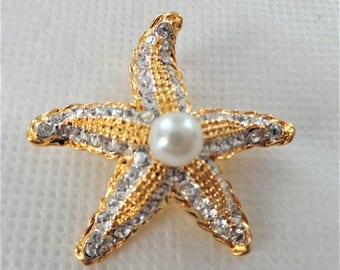KJL Starfish Necklace Enhancer - Gold Tone with Crystals Clip On - S2323