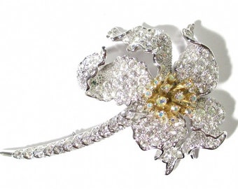 Nolan Miller Brooch - Silver Tone with Pave Crystals - S2414