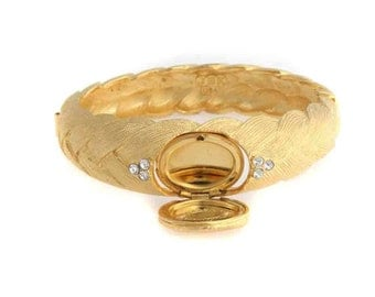 Jackie Kennedy GP Bracelet - 24K Hinged Bangle with Crystals, Box and Certificate - Size 6.75