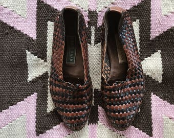 VTG Cole Haan Woven Loafers // Size 6 // Leather // Black // Brown // Vintage