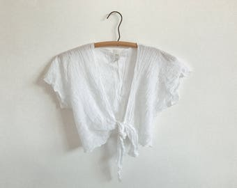RESERVED ** VTG Cotton Gauze Crop Top // Tie front