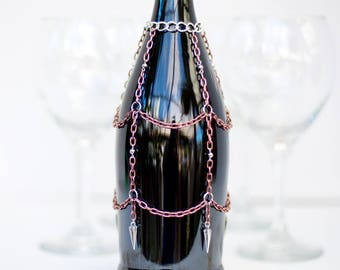Bottle cover, bottle bling, wine bottle decor, wine lovers gift, wine bar, barware, wedding table decoration