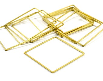 10 Pcs. Raw Brass 40x40  mm Square Circle  Ring Findings