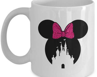 Magic Castle Mouse Mug Gift Pink Bow Love Fan Fanatic Magical Coffee Cup