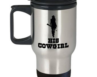 His Cowgirl Travel Mug Gift for Wife Girlfriend Couples His Hers Horse Riding Rider Coffee Cup