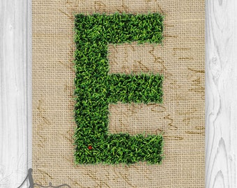 Moss Letter, Moss Monogram Poster, Monogram Letter E Art, Wedding Home Decor, Country Wedding Decor, Moss & Burlap Initial Poster