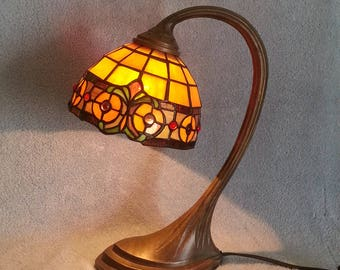 Gooseneck Lamp with Stained Glass Shade - Two Available