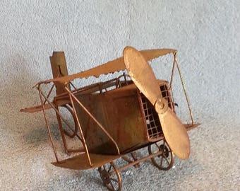 Music Box - Metal Art - Copper - Old Biplane
