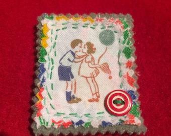 Valentine Kiss  fabric brooch