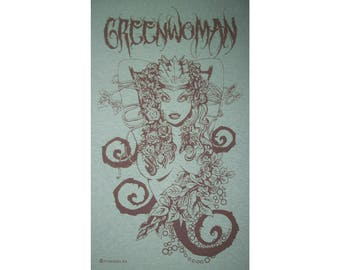 Greenwoman Sheela-Na-Gig Green Woman Goddess Celtic Druid T-Shirt BR