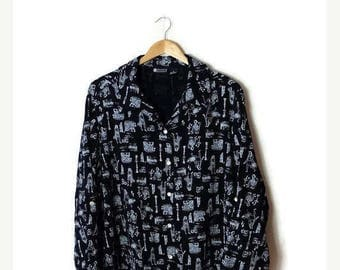 ON SALE Vintage Navy x Lady printed Long sleeve Slouchy Blouse from 90's*