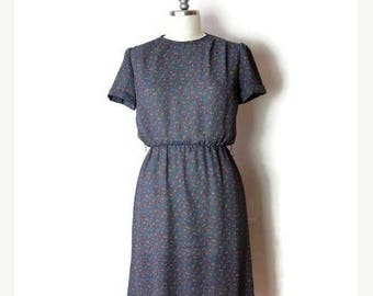 ON SALE Vintage Grey x Floral Sheer Short sleeve Slouchy Dress from 1980's*
