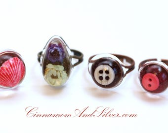Colorful Small Resin Rings, Resin Button Ring, Resin Pink Seashell Ring, Resin Flower Teardrop Ring, Resin Statement Rings, Cocktail Rings