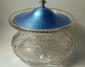 Gifts for the couple Art Deco sterling silver blue guilloche powder bowl