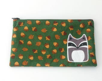 Zipper Pouch with Raccoon on Acorn Fabric - 8x5 inch Cosmetics Bag - Pencil Pouches - School Supplies - Organizing - Gifts for Her