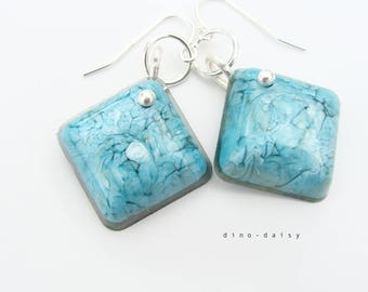 Resin & Sterling Silver Square Earrings - Marine Swirl