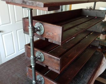 Handmade Reclaimed Wood Shoe Stand with Top Shelf / Rack / Organizer with Pipe Stand Legs