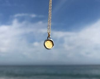 Sterling Silver and 24K Gold Necklace - Round Gold Necklace