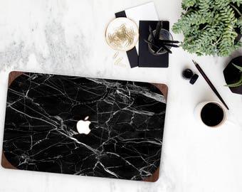 Black Marble and Primavera Rustic Wood Edge Hybrid Hard Case for Apple Mac Air & Mac Retina , New Macbook 2016 - Platinum Natural Series