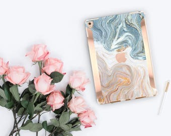 """Brown & Nacre Marble iPad Case and Rose Gold Detailing iPad Pro 9.7 / iPad Pro 10.5"""" Smart Keyboard compatible Hard Case - Platinum Edition"""