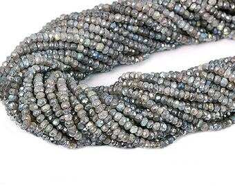 """25% OFF 1 Strand Mistique Labradorite Rondelles Micro Faceted 3-4mm 13"""" Length AAAmazing quality 100 Percent Natural (RLML-70002)"""