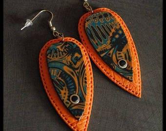 Earrings black / orange / blue patterned polymer