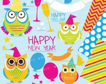 80% OFF SALE New Year Owls clipart commercial use, vector graphics, digital clip art, digital images  - CL622