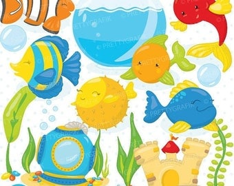 80% OFF SALE fish bowl clipart commercial use, pet fish vector graphics, digital clip art, digital images - CL715