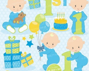 80% OFF SALE First birthday boy clipart commercial use, vector graphics, digital clip art, digital images - CL658