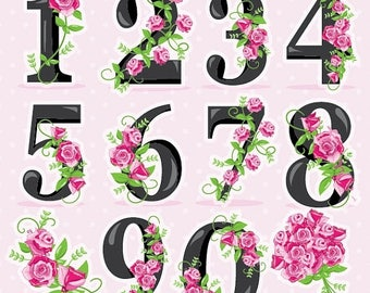 80% OFF SALE Floral numbers clipart, wedding clipart commercial use, Floral vector graphics, flowers clip art, digital images - CL957