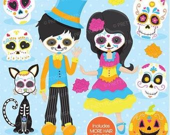 80% OFF SALE Sugar skull kids clipart commercial use, vector graphics, digital clip art, digital images, day of the dead, dia de los muertos