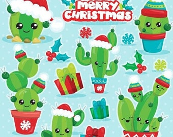 80% OFF SALE Christmas cactus clipart commercial use, Christmas clipart, vector graphics, cactus digital clip art, Christmas images - CL1115