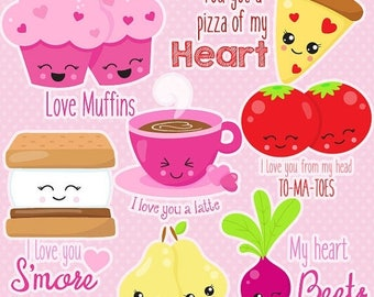80% OFF SALE Valentine pairs clipart commercial use, vector graphics, valentine puns digital clip art, digital images  - CL1058